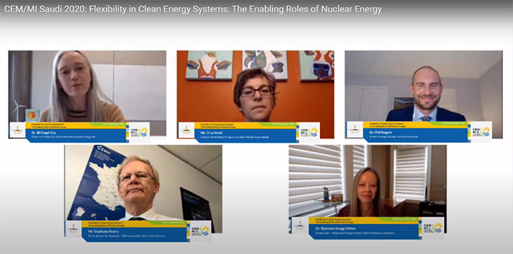 Screenshot of a virtual meeting that includes five panelists on screen.