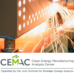 JISEA's Clean Energy Manufacturing Analysis Center examines clean energy industry trends; cost, price, and performance trends; market and policy drivers; and future outlook. Shown here: welding and sparks in a manufacturing process. CEMAC: Clean Energy Manufacturing Analysis Center, a program of the Joint Institute for Strategic Energy Analysis.